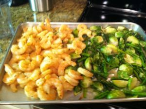 shrimp and brussel sprouts