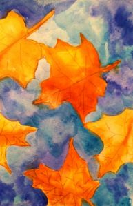 watercolor autumn leaves